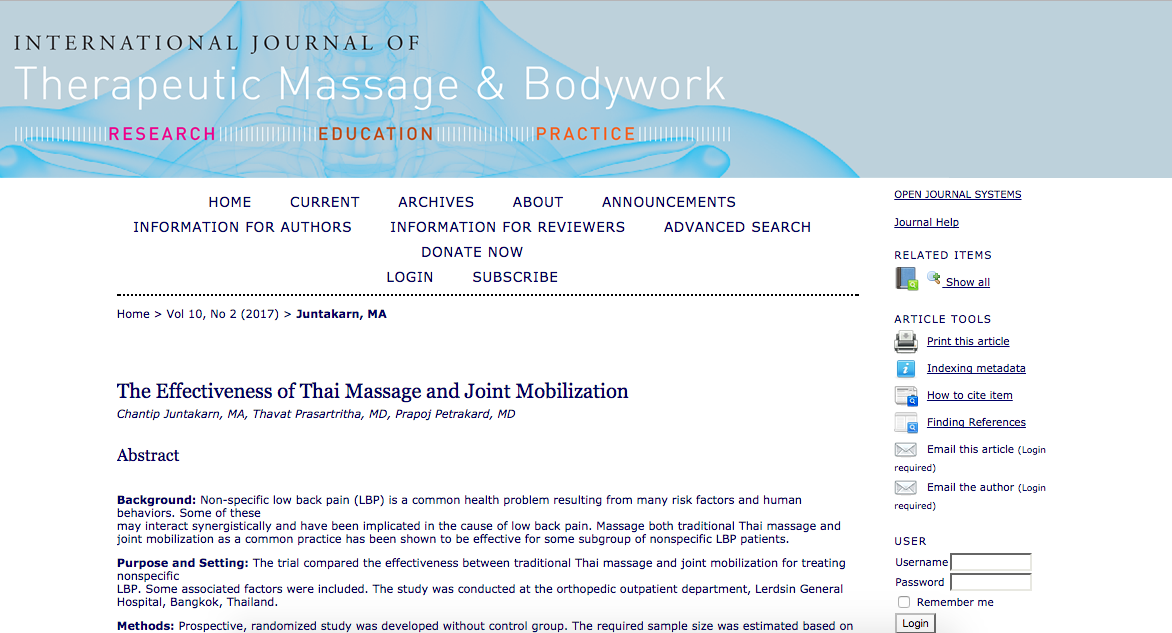 The Effectiveness of Thai Massage and Joint Mobilization